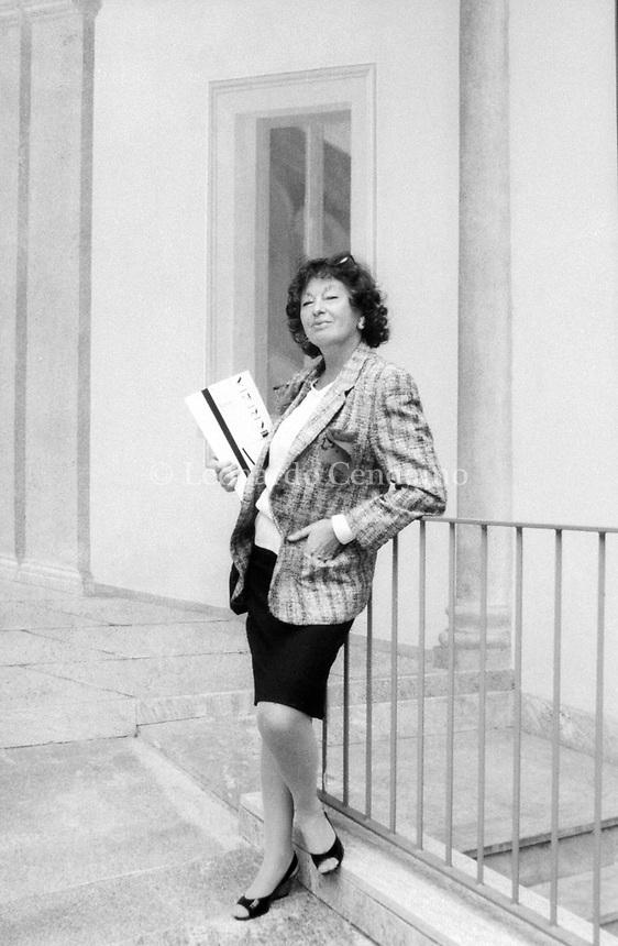 Inge Feltrinelli, nata Schönthal, è stata un'editrice, fotografa, e giornalista tedesca, naturalizzata italiana. E' stata la regina dell'editoria italiana. Milano, 12 maggio 1988. Photo by Leonardo Cendamo/Gettyimages
