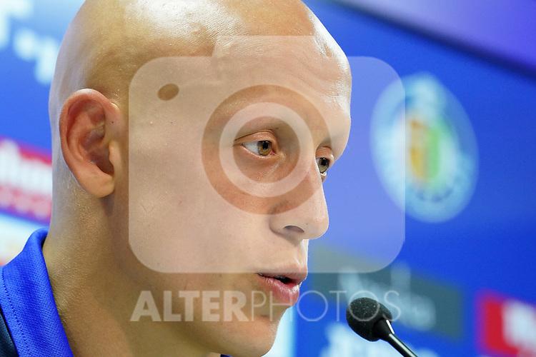 Getafe CF's new player Victor Mollejo during his official presentation. October 7, 2020. (ALTERPHOTOS/Acero)