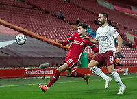 1st October 2020; Anfield, Liverpool, Merseyside, England; English Football League Cup, Carabao Cup, Liverpool versus Arsenal; Neco Williams of Liverpool competes for the ball with Sead Kolasinac of Arsenal