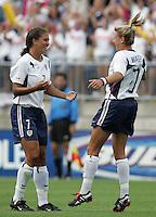 Shannon Boxx, left, Aly Wagner, right, USA vs China, 2004.