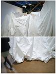 """PIERRE HUYGHE<br /> <br /> """"Float"""" envelopped'une salle d'exposition ayant lévité hors du musée.<br /> Lieu : Centre Pompidou<br /> Ville : Paris<br /> Le : 24/11/2013"""