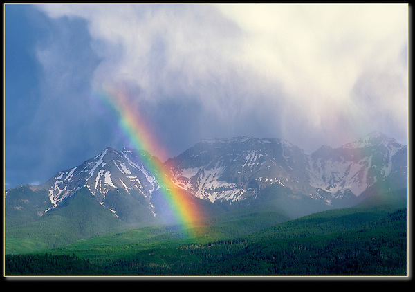 This was exciting shooting. In the days of film, when you didn't know you had it, until you had it in you hand.<br /> Rainbow over the Sneffels Range, San Juan Mountains, Ridgeway, Colorado.