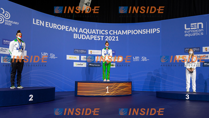 Gold Medal<br /> KAPASBoglarka HUN<br /> Silver Medal<br /> HOSSZUKatinka HUN<br /> Bronze Medal<br /> CHIMROVASvetlana RUS<br /> 200m Butterfly Women<br /> Swimming<br /> Budapest  - Hungary  20/5/2021<br /> Duna Arena<br /> XXXV LEN European Aquatic Championships<br /> Photo Giorgio Perottino / Deepbluemedia / Insidefoto