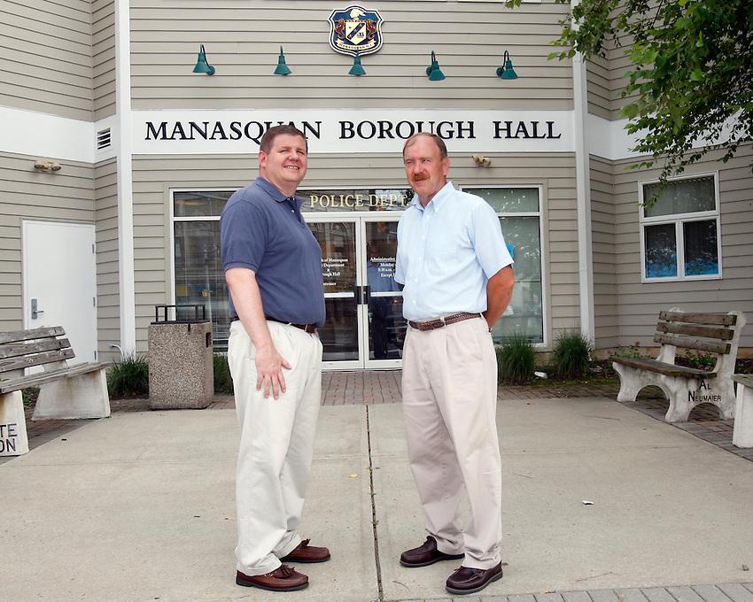Manasquan Borough Council candidates Edward G. Donovan and Owen C. McCarthy along with Mayor George Dempsey...