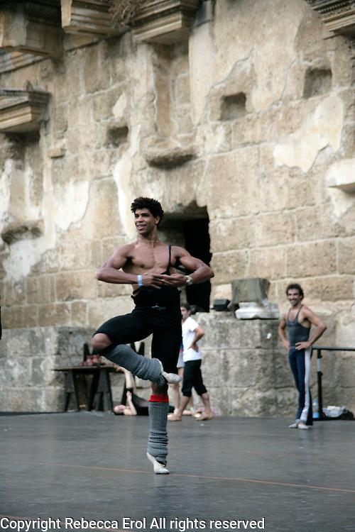 Carlos Acosta in class at the Aspendos Theatre, Antalya, Turkey