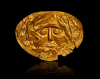 Gold Death Mask Known from Grave IV, Grave Circle A, Mycenae. 16th Century BC. The mask is made of a thin sheet of beaten gold . 16th century BC. Cat No 253 Athens Archaeological Museum.