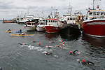 Swimmers at the Green Buoy 1KM Swim in Clogherhead....(Photo credit should read Jenny Matthews/NEWSFILE)...