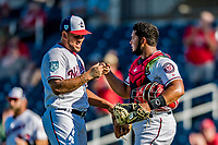 2 March 2019: Washington Nationals pitcher Henderson Alvarez gets a first bump from top prospect catcher Raudy Read at the end of of a Spring Training game against the Minnesota Twins at the Ballpark of the Palm Beaches in West Palm Beach, Florida. The Nationals defeated the Twins 10-6 in Grapefruit League play. Mandatory Credit: Ed Wolfstein Photo *** RAW (NEF) Image File Available ***