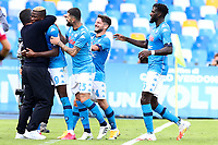 Victor Osimhen of SSC Napoli celebrates with Gennaro Gattuso after scoring the goal of 4-0 during the Serie A football match between SSC Napoli and Atalanta BC at San Paolo stadium in Naples (Italy), October 17th 2020. Photo Cesare Purini / Insidefoto