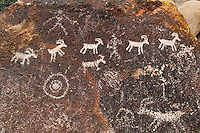 Petroglyphs in Grapevine Canyon of the Newberry Mountains, along Christmas Tree Pass Road, Lake Mead Recreation Area, near Laughlin, Nevada.