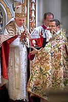 Pope Benedict XVI Don Pietro vittorelli abbot of Montecassino Vespers prayer in Montecassino Basilica inside the abbey, in Cassino, Italy, Sunday May 24, 2009.