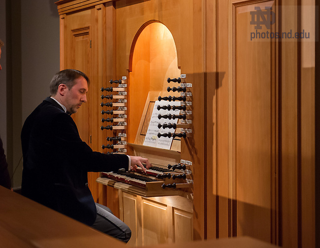 Feb. 25, 2014; The Nanovic Institute for European Studies sponsored a concert with Olivier Latry Titular Organist of Notre Dame Cathedral in Paris in the Reyes Organ and Choral Hall in the Debartolo Performing Arts Center.<br /> <br /> Photo by Matt Cashore/University of Notre Dame