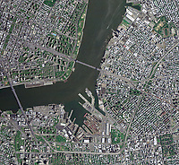 aerial photo map of the East River, Wallabout Bay, Brooklyn, New York City, New York, 2009.  For more recent imagery of the same view or other views of Brooklyn, please contact Aerial Archives directly.