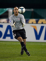 Tim Howard grabs the ball during a 2-2 tie with Costa Rica to put the USA in first place of CONCACAF 2010 World Cup qualifying, at RFK Stadium, in Washington DC, Wednesday, October 14, 2009.