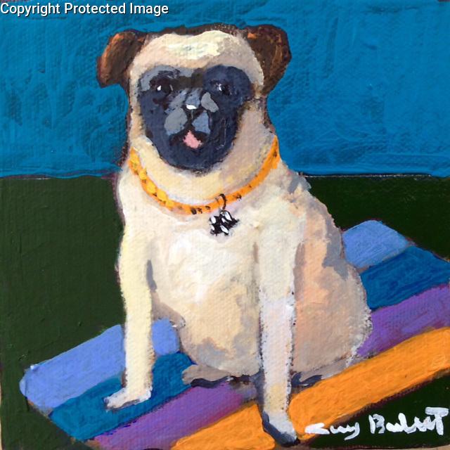 Pug<br /> Acrylic on Canvas<br /> 5x5<br /> $600