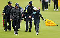 170719 | The 148th Open - Wednesday Practice<br /> <br /> Justin Rose of England and Tommy Fleetwood of England  on the 18th during practice for the 148th Open Championship at Royal Portrush Golf Club, County Antrim, Northern Ireland. Photo by John Dickson - DICKSONDIGITAL