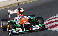 Force India Racing's German Nico Hulkenberg drives his car during the F1 Test days in Montmelo racetrack, Barcelona, 22 February 2012. PHOTO Insidefoto / Alejandro Garcia / Anatomica Press