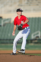 Kannapolis Intimidators starting pitcher Jimmy Lambert (8) in action against the Greensboro Grasshoppers at Intimidators Stadium on July 17, 2016 in Greensboro, North Carolina.  The Grasshoppers defeated the Intimidators 5-4 in game two of a double-header.  (Brian Westerholt/Four Seam Images)