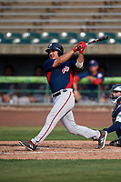 Potomac Nationals third baseman Jake Noll (13) follows through on a swing during the first game of a doubleheader against the Lynchburg Hillcats on June 9, 2018 at Calvin Falwell Field in Lynchburg, Virginia.  Lynchburg defeated Potomac 5-3.  (Mike Janes/Four Seam Images)