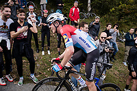 Bob Jungels (LUX/Deceuninck - Quick Step) up the infamous (and crowded) Muro di Sormano (avg 17%/max 25%)<br /> <br /> 113th Il Lombardia 2019 (1.UWT)<br /> 1 day race from Bergamo to Como (ITA/243km)<br /> <br /> ©kramon