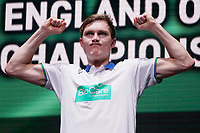 15th March 2020, Arena Birmingham, Birmingham, UK;  Viktor Axelsen poses during the trophy ceremony after the mens singles final match between Viktor Axelsen of Denmark and Chou Tien Chen of Chinese Taipei at All England Badminton 2020 in Birmingham