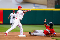 Jose Garcia (3) of the Springfield Cardinals turns a double play during a game against the Frisco RoughRiders on April 14, 2011 at Hammons Field in Springfield, Missouri.  Photo By David Welker/Four Seam Images.
