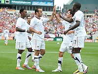USA's Landon Donovan celebrates after assisting on a goal by Jozy Altidore, right, against Turkey during an international friendly tune up match for the 2010 World Cup, at Lincoln Financial Field, in Philadelphia, PA, Saturday, May 29, 2010. USA defeated Turkey 2-1.