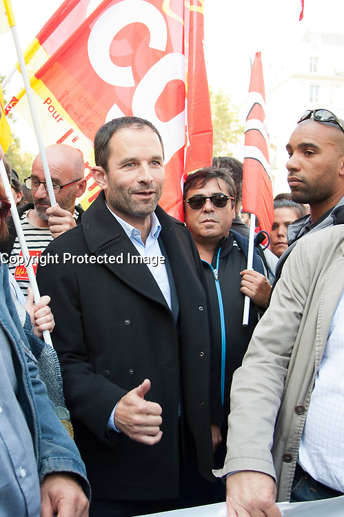 September 21 2017, PARIS FRANCE<br /> Demonstration against the Reform of<br /> Labour Law organized by the CGT Union<br /> whose leader is Philippe Martinez. Benoit<br /> Hamon former presidential candidate 2017 was present near him. # MANIFESTATION CONTRE LA LOI TRAVAIL EN FRANCE ANTI