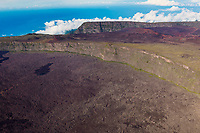 France, île de la Réunion, Parc national de La Réunion, classé Patrimoine Mondial de l'UNESCO, volcan du Piton de la Fournaise, l'Enclos Fouqué au pied du Pas de Bellecombe (vue aérienne) // France, Reunion island (French overseas department), Parc National de La Reunion (Reunion National Park), listed as World Heritage by UNESCO, Piton de la Fournaise volcano, the Enclos and Formica Leo at the foot of the Pas de Bellecombe (aerial view)