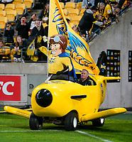 30th April 2021; Wellington, New Zealand;  Captain Hurricane arrives pitchside.  Hurricanes versus  Highlanders, Super Rugby, Sky Stadium, Wellington New Zealand, Friday 30 April 2021.