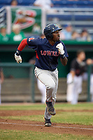 Lowell Spinners third baseman Xavier LeGrant (15) runs to first base during game against the Batavia Muckdogs on July 14, 2018 at Dwyer Stadium in Batavia, New York.  Lowell defeated Batavia 8-4.  (Mike Janes/Four Seam Images)