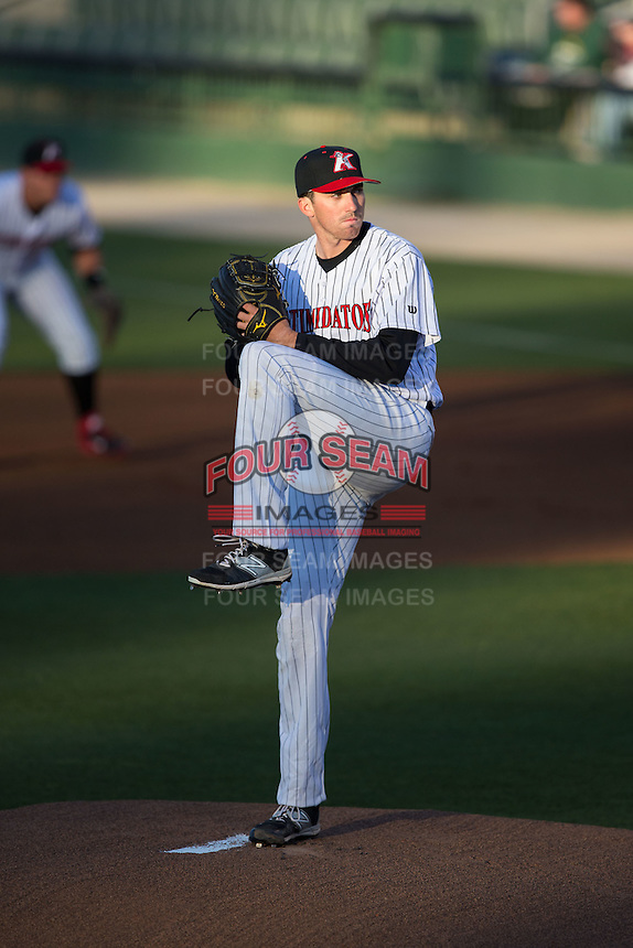 Kannapolis Intimidators starting pitcher Zach Thompson (32) in action against the Hickory Crawdads at Kannapolis Intimidators Stadium on April 9, 2016 in Kannapolis, North Carolina.  The Crawdads defeated the Intimidators 6-1 in 10 innings.  (Brian Westerholt/Four Seam Images)