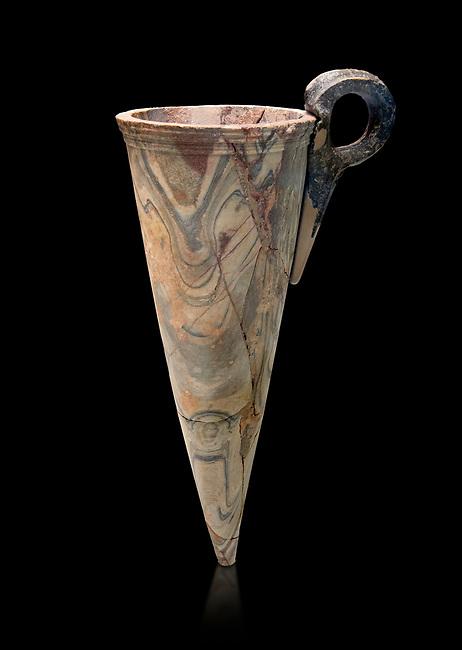Minoan marble conical rhython, Zakros 1500-1400 BC; Heraklion Archaeological  Museum, black background.
