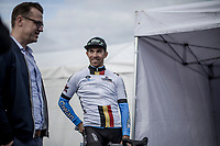 Sean De Bie (BEL/Veranda's Willems - Crelan), standing next to team manager Nick Nuyens)  is the new leader in the Napoleon Games Cycling Cup Ranking. <br /> <br /> 103th Kampioenschap van Vlaanderen 2018 (UCI 1.1)<br /> Koolskamp – Koolskamp (186km)