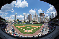A crowd of 9,501 fans were on hand to watch the Charlotte Knights play host to the Gwinnett Braves at BB&T BallPark on May 22, 2016 in Charlotte, North Carolina.  The Knights defeated the Braves 9-8 in 11 innings.  (Brian Westerholt/Four Seam Images)