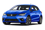 Stock pictures of low aggressive front three quarter view of 2022 Seat Ibiza Move!-+ 5 Door Hatchback Low Aggressive