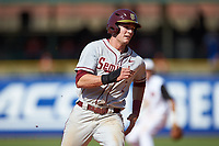 Jackson Lueck (2) of the Florida State Seminoles hustles towards third base against the Louisville Cardinals in Game Eleven of the 2017 ACC Baseball Championship at Louisville Slugger Field on May 26, 2017 in Louisville, Kentucky. The Seminoles defeated the Cardinals 6-2. (Brian Westerholt/Four Seam Images)