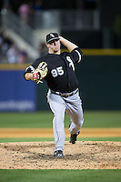 Chicago White Sox relief pitcher Brian Clark (95) in action against the Charlotte Knights at BB&T Ballpark on April 3, 2015 in Charlotte, North Carolina.  The Knights defeated the White Sox 10-2.  (Brian Westerholt/Four Seam Images)