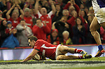 Ashley Beck dives over to score Wales first try of the match..Dove Men Series 2012.Wales v Samoa.Millennium Stadium.16.11.12.©Steve Pope - Sportingwales