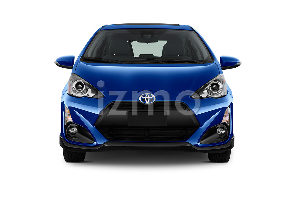 Car photography straight front view of a 2017 Toyota Prius-c Four 5 Door Hatchback Front View