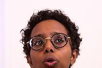 """La scrittrice italo-somala Igiaba Scego durante l'incontro promosso dai Radicali Italiani dal titolo """"Donne anche noi - Storie di fuga e riscatto"""" alla sede dell'Associazione della Stampa Estera in Italia, a Roma, 7 marzo 2017. <br /> Italian-Somali writer Igiaba Scego during a meeting on refugees and former victims of human trafficking living in Italy, in Rome, 7 March 2017.<br /> UPDATE IMAGES PRESS/Riccardo De Luca"""