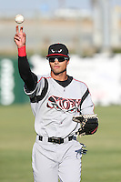 Donovan Tate (2) of the Lake Elsinore Storm throws before a game against the Lancaster JetHawks at The Hanger on May 9, 2015 in Lancaster, California. Lancaster defeated Lake Elsinore, 3-1. (Larry Goren/Four Seam Images)