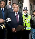 Pakistani cricketers arrive at the Pakistan High Commission in London today..Pakistan HIgh Commissioner Wajid Shamsul Hasan.reads statement on the steps...Picture by Gavin Rodgers/ Pixel 07917221968