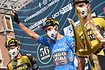 Maglia Azzurra Wout Van Aert (BEL) Team Jumbo-Visma at sign on before the start of Stage 4 of Tirreno-Adriatico Eolo 2021, running 148km from Terni to Prati di Tivo, Italy. 13th March 2021. <br /> Photo: LaPresse/Gian Mattia D'Alberto   Cyclefile<br /> <br /> All photos usage must carry mandatory copyright credit (© Cyclefile   LaPresse/Gian Mattia D'Alberto)