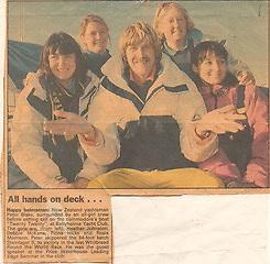 A 1992 news paper cutting showing round the world yachtsman Sir Peter Blake on Twenty Twenty