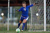 Baylor goalkeeper Michelle Kloss (8) kicks the ball away during first half of an NCAA soccer game, Friday, October 03, 2014 in Waco, Tex. TCU draw 1-1 against Baylor in double overtime. (Mo Khursheed/TFV Media via AP Images)