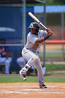 GCL Marlins third baseman Yefry Reyes (7) at bat during a game against the GCL Mets on August 12, 2016 at St. Lucie Sports Complex in St. Lucie, Florida.  GCL Marlins defeated GCL Mets 8-1.  (Mike Janes/Four Seam Images)