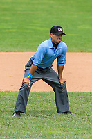 Base umpire Ricardo Estrada during a Midwest League game between the Beloit Snappers and the Quad Cities River Bandits on June 18, 2017 at Pohlman Field in Beloit, Wisconsin.  Quad Cities defeated Beloit 5-3. (Brad Krause/Four Seam Images)