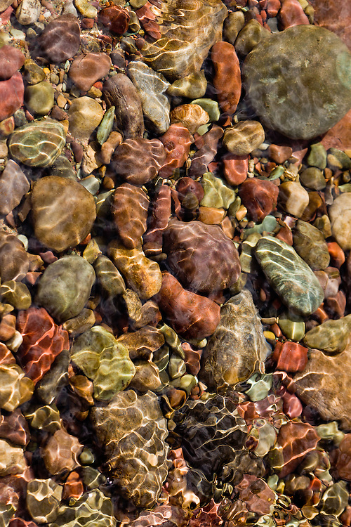 River rocks under the water found near Kalispell, Montana, USA