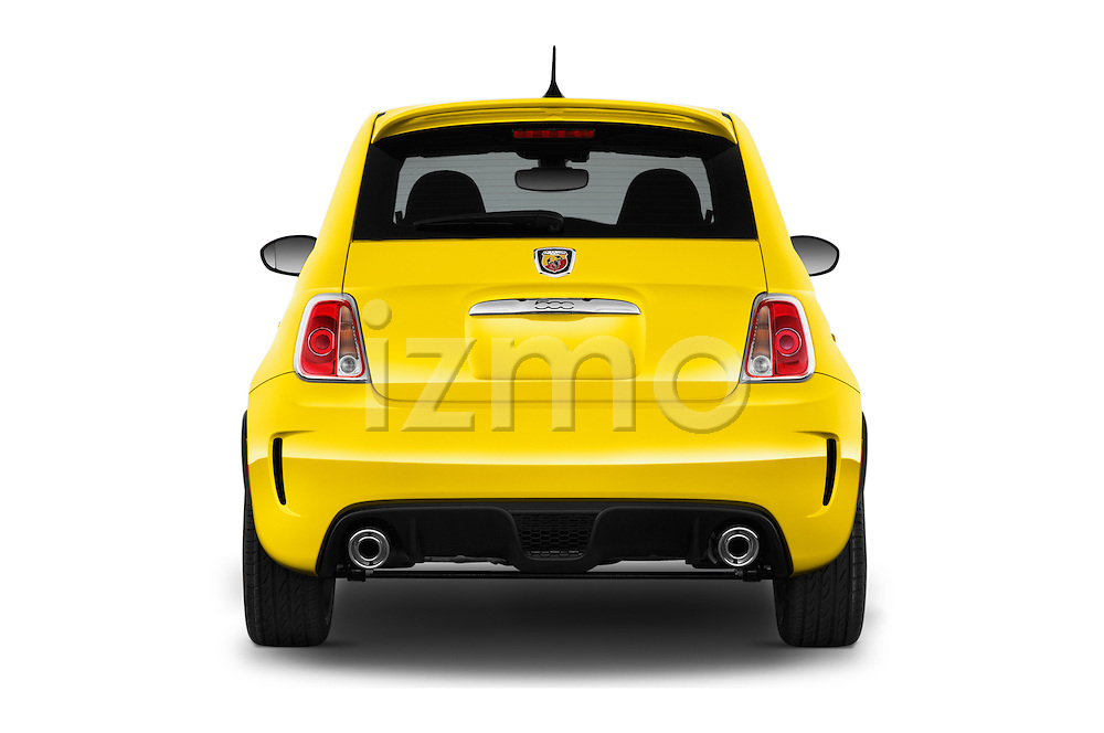 Straight rear view of 2017 Fiat 500 Abarth 3 Door Hatchback Rear View  stock images